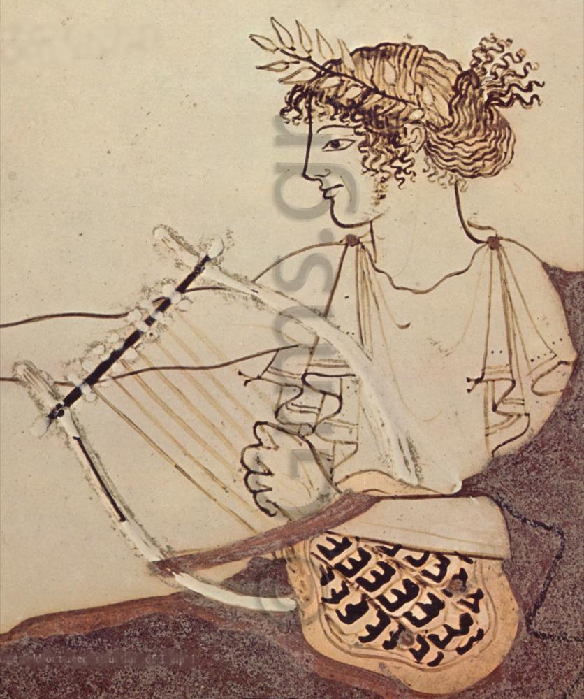 Εικ. 24. Δελφοί, κύλιξ. Απόλλων λυριστής (Themelis 1984).