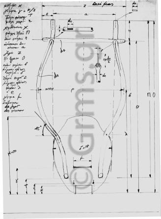 Εικ. 34. Σχέδιο κατασκευής λύρας: μετρήσεις.