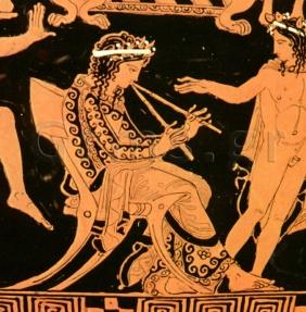 Εικ. 3. Napoli, Museo Archeol. Nazionale 3240. Σκηνή σατύρου, λεπτομέρεια: ο αυλητής Πρόνομος.