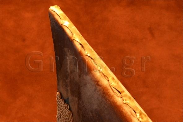 Εικ. 44α. Το χάλκινο διακοσμητικό έλασμα προσηλωμένο κατά μήκος της ράχης του αντηχείου.