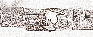 Σύνδεση των τμημάτων B-C, του πλαγίαυλου της Κοίλης. Διακρινονται οι δύο άνω οπές για τα δάχτυλα του αριστερού χεριού. Σχέδιο από φωτογραφία Στέλιου Ψαρουδάκη